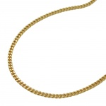 NECKLACE, CURB CHAIN, 2X DIAMOND CUT, 9K GOLD, 50CM