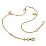 ANKLE CHAIN, 3 HEARTS, 9K GOLD, 25CM