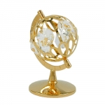 Globe with crystal elements gold plated