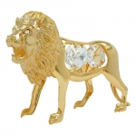 Lion with crystal elements gold plated