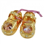Babyshoes with crystal elements pink gold plated