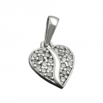 Pendant, Heart with Zirconia, Silver 925