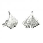 earrings, ginkgo leaf, silver 925