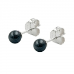 Stud Earrings Hematite 4mm Silver 925 - 90124