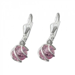 Leverback Earrings, Pink CZ, Silver 925