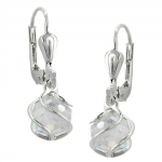 EARRINGS, LEVERBACK, CUBIC ZIRCONIA, SILVER 925
