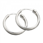 hoop earrings D-shaped, silver 925
