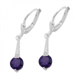 Leverback Earrings, Amethyst, Silver 925