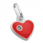Pendant, Red Heart, Silver 925