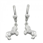 EARRINGS, LEVERBACK, HORSE, SILVER 925