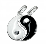 Sterling Silver 925 16mm Black & White Friendship Yin-Yang Pendant