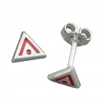 EARRINGS, TRIANGLE, RED SIGNS, SILVER 925