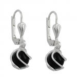 EARRINGS, LEVERBACK, ONYX, 6MM, SILVER 925