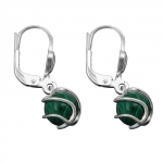 EARRINGS, LEVERBACK, MALACHITE, SILVER 925