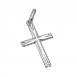 pendant, small cross, shiny, silver 925