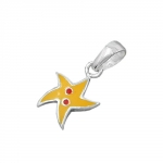 pendant, yellow star, silver 925