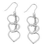 Hook Earrings, 3 Hearts, Silver 925