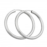 Hoop Earrings, 30mm, Silver 925