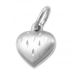 PENDANT, HEART WITH CUT, SILVER 925