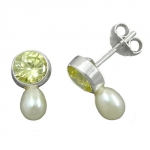 EARRINGS, ZIRCONIA, LIGHT-OLIVE, 925