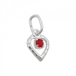 pendant, glass-stone red, silver 925