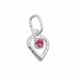 pendant, glass-stone pink, silver 925