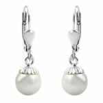 LEVERBACK EARRINGS, BEAD, SILVER 925