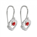 LEVERBACK EARRINGS, RED, SILVER 925