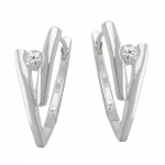 HINGED HOOPS, ZIRCONIA-WHITE SILVER 925