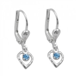 EARRINGS, LEVERBACK, BLUE, SILVER 925
