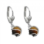 EARRINGS, LEVERBACK, TIGER EYE, SILVER 925