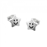 EARSTUDS, STAR WITH FACE, SILVER 925