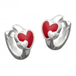 EARRINGS, LEVERBACK, HEART, RED, SILVER 925