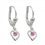 EARRINGS, LEVERBACK, HEART, PINK, SILVER 925