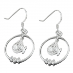 EARRINGS, FISH, ZIRCONIA, SILVER 925