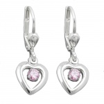 EARRINGS, LEVERBACK, HEART, ZIRCONIA, PINK, SILVER 925