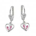 EARRINGS, HEART BUTTERFLY, SILVER 925
