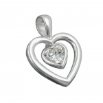 PENDANT, HEART, MOVEABLE, SILVER 925