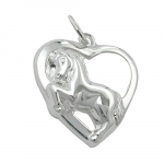 PENDANT HEART WITH HORSE, SILVER 925