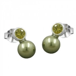 EARRINGS, BEAD AND CZ, OLIVE, SILVER 925