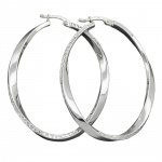 Hoop Earrings, Oval Shape, Silver 925