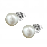 Stud Earrings, 6mm Pearl, White, Silver 925