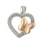 Pendant, Heart with Zirconia and Butterfly, Silver 925