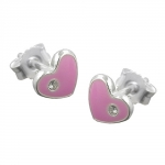 EARRINGS, PINK HEARTS, SILVER 925