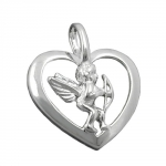 Heart Pendant with Angel, Silver 925