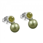 EARRINGS, BEAD AND CZ OLIVE, SILVER 925