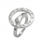 RING, CUBIC ZIRCONIA, RHODINIZED, 18.5mm, SILVER 925