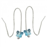 Chain Earrings, Blue Butterfly, Silver 925