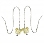 Chain Earrings, Yellow Butterfly, Silver 925