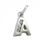 PENDANT, INITIAL A WITH CZ, SILVER 925